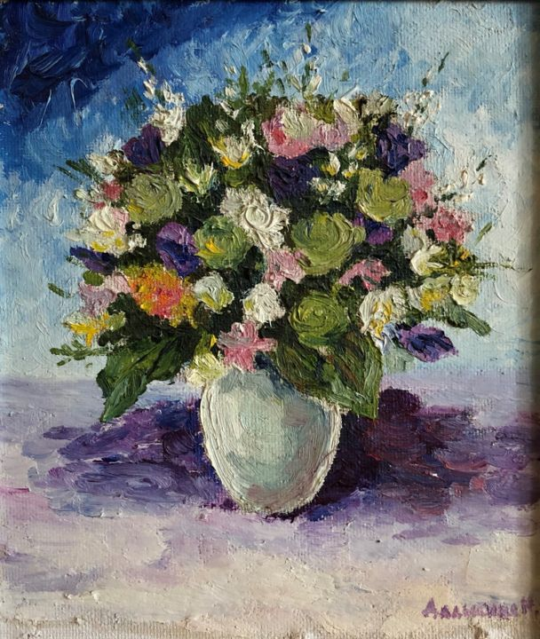 """Painting titled """"Flowers in a White…"""" by Nataliia Dadykina, Original Art, Oil Mounted on Cardboard"""