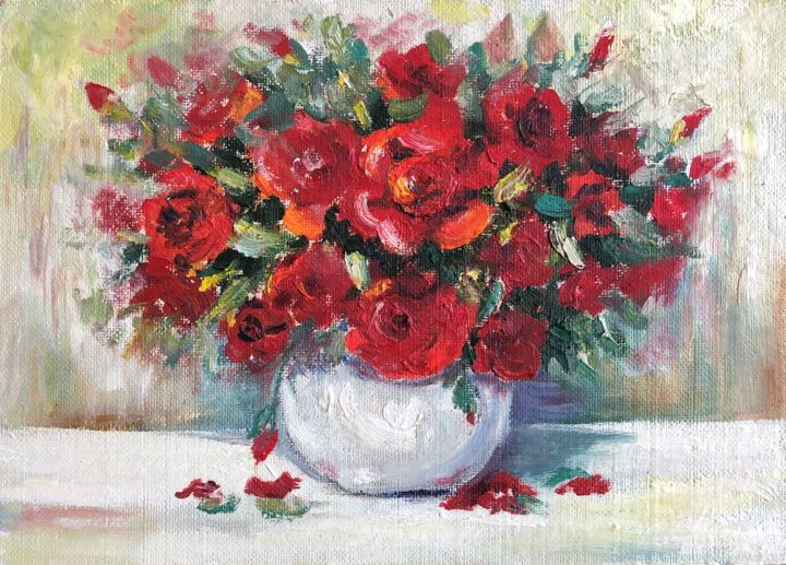 """Painting titled """"Red Roses"""" by Nataliia Dadykina, Original Art, Oil"""
