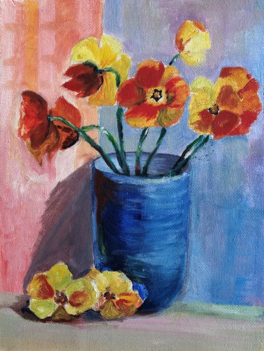 """Painting titled """"Poppies"""" by Nataliia Dadykina, Original Art, Oil"""