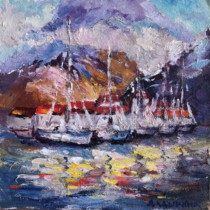 """Painting titled """"Yachts"""" by Nataliia Dadykina, Original Art, Oil"""