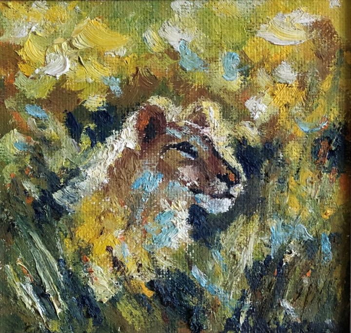 """Painting titled """"Young Lion"""" by Nataliia Dadykina, Original Art, Oil"""