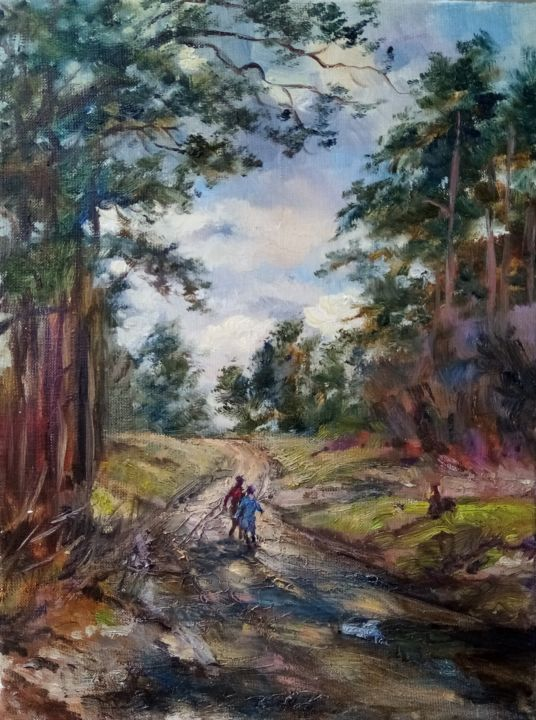 """Painting titled """"A road in a pine fo…"""" by Natalya Timchenko, Original Art, Oil Mounted on Stretcher frame"""