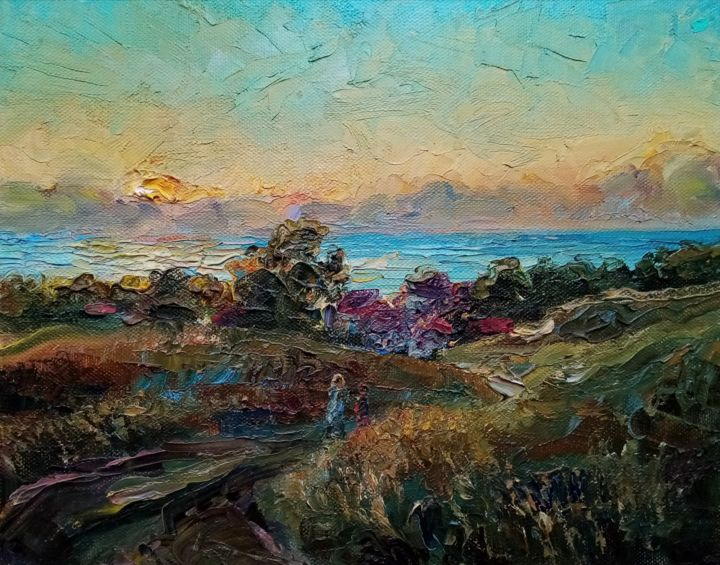 """Painting titled """"Evening on the hills"""" by Natalya Timchenko, Original Art, Oil Mounted on Stretcher frame"""