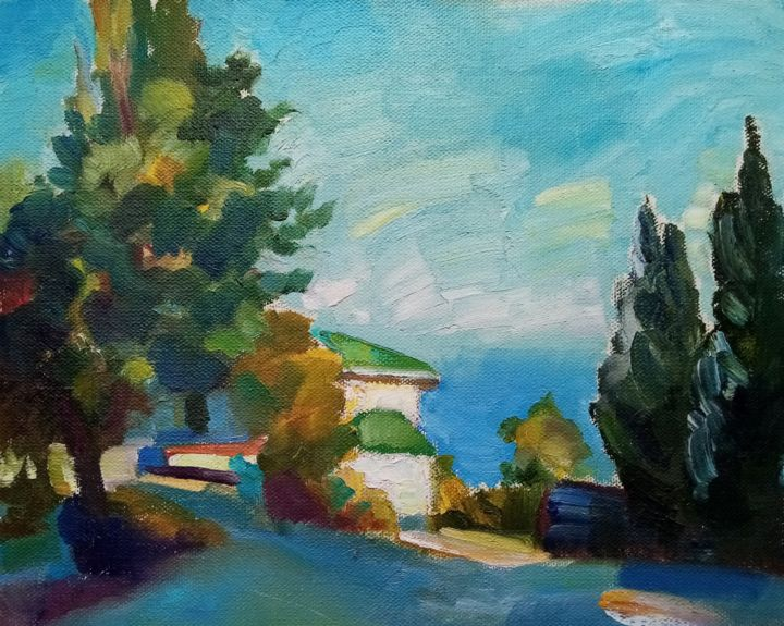 """Painting titled """"Blue Bay"""" by Natalya Timchenko, Original Art, Oil Mounted on Stretcher frame"""