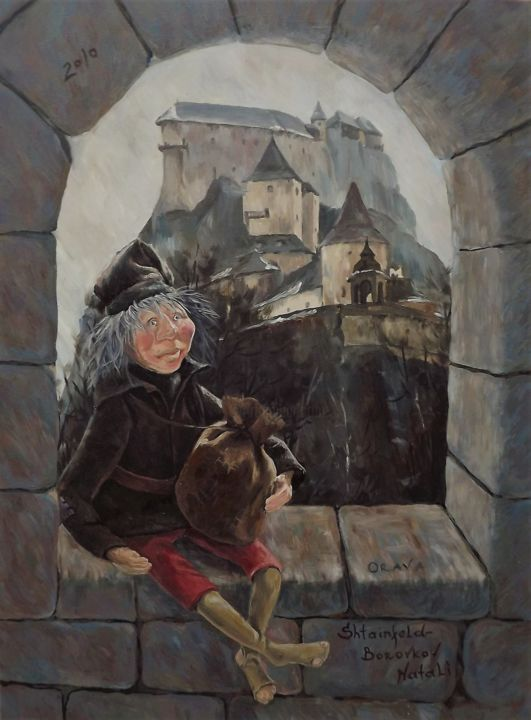 Doll in Slovakia Oravsky castle - Painting,  80x60x1.5 cm ©2010 by Shtainfeld-Borovkov Nataly -                                                                                                        Impressionism, Realism, Cityscape, History, Dark-Fantasy, Landscape, Travel, castle, doll, travel, fantasy, Slovakia, Oravsky castle, кукла, замок, путешествие, Словакия, Оравский замок