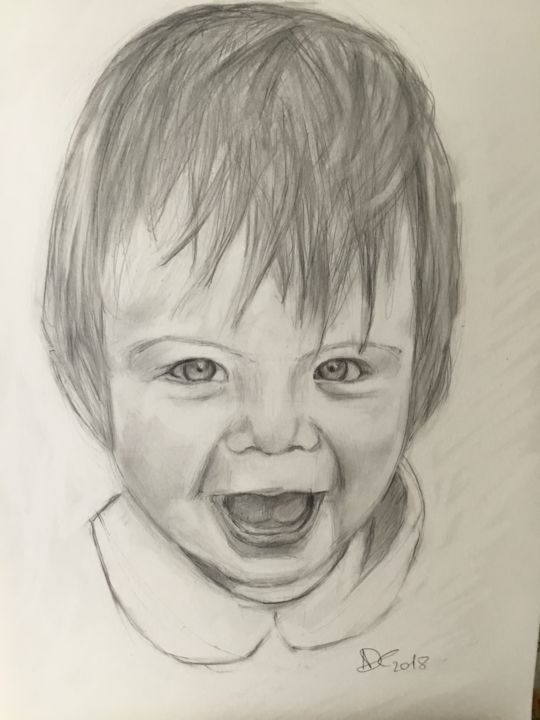 Joie - Drawing,  16.5x11.7 in ©2018 by Nathalie de Courrèges -                        Kids