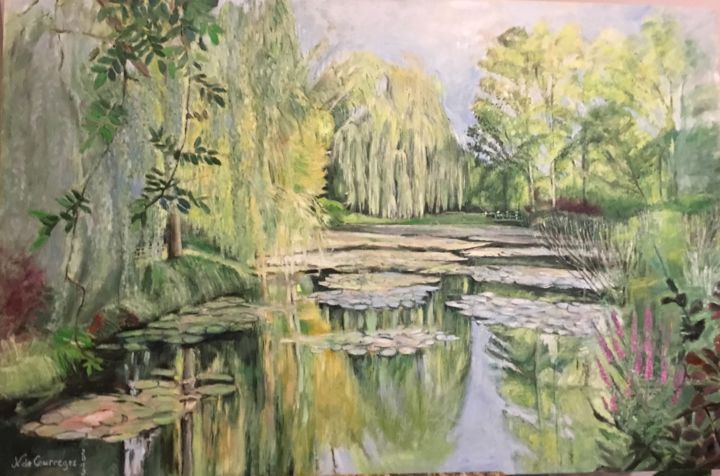 Giverny - Painting,  38.2x57.5 in ©2019 by Nathalie de Courrèges -                                        Impressionism, Landscape