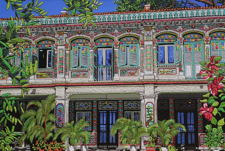 """Painting titled """"Rococo Shophouses a…"""" by Nathalie Laoue, Original Art, Acrylic Mounted on Wood Panel"""
