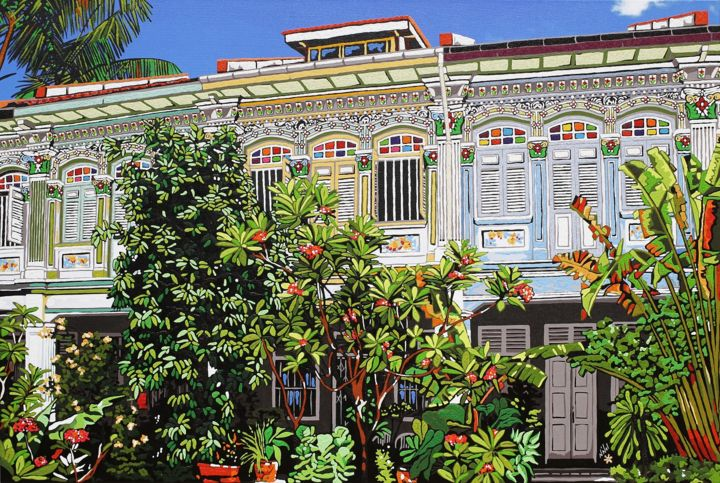 """Painting titled """"Shophouses among th…"""" by Nathalie Laoue, Original Art, Acrylic Mounted on Wood Panel"""