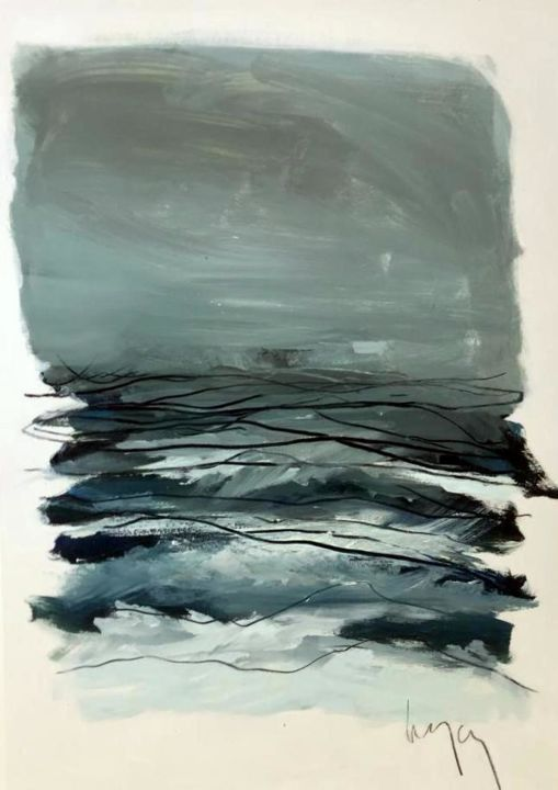 OCEAN - Painting,  20.5x16.5x1.2 in, ©2019 by Nathalie Leverger -                                                                                                                                                                          Abstract, abstract-570, Seascape