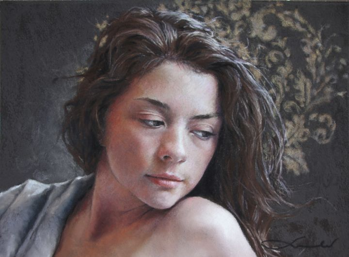 """Drawing titled """"""""Le petit royaume""""…"""" by Nathalie Picoulet, Original Art, Pastel Mounted on Cardboard"""