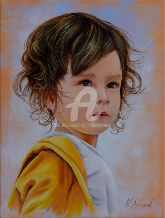 pablo.jpg - Painting, ©2017 by Nathalie ARMAND -                                                                                                                                                                                                                                                                                                                                                                                                                                                      Figurative, figurative-594, Portraits, visage, enfant, children, face, boy, garçon