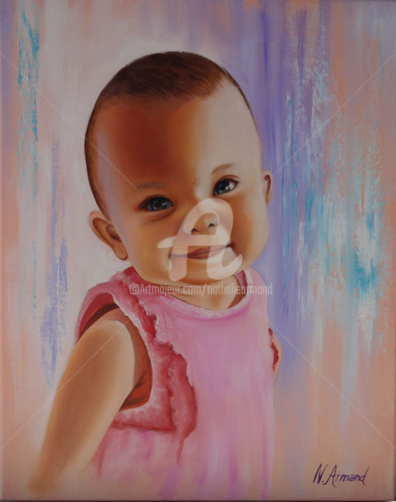 louison.jpg - Painting,  41x33 cm ©2018 by Nathalie Armand -                                                            Portraiture, Canvas, Kids, fillette, bébé, baby, girl, children