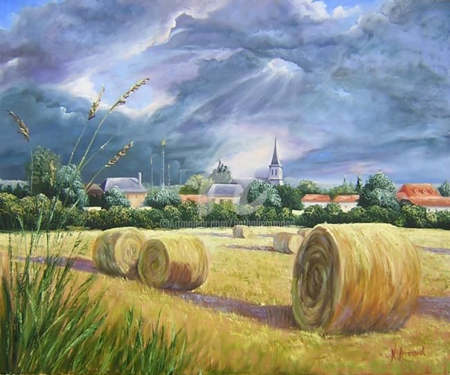 Mourrenx bourg - Peinture,  23,6x28,7 in, ©2006 par Nathalie Armand -                                                                                                                                                                          Figurative, figurative-594, orage-été-moisson-village-nuages-clocher-