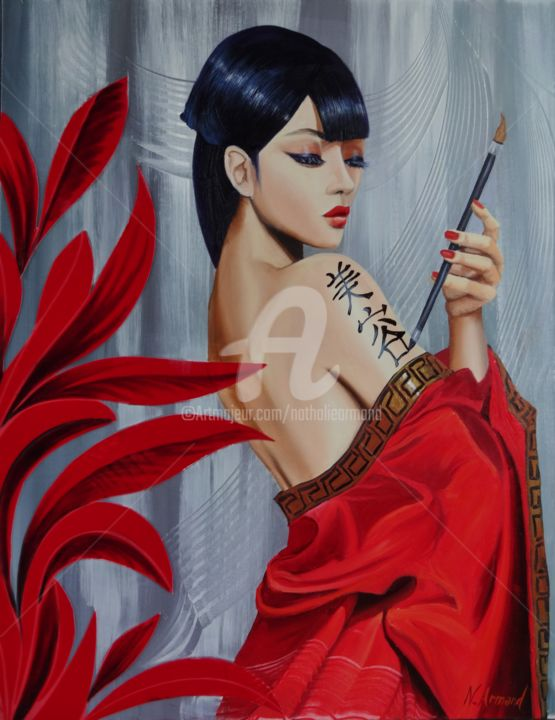 geisha - Painting,  65x50 cm ©2013 by Nathalie Armand -                            World Culture, japonaise geisha tatouage body-paint femme nue nu féminin féminine belle sensualité sensuelle brune asiatique kimono rouge