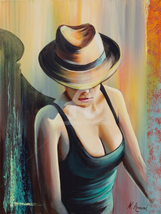 l'inconnue - Painting,  65x54 cm ©2013 by Nathalie Armand -                                                            Contemporary painting, Canvas, Women, femme, chapeau, panama, woman, hat