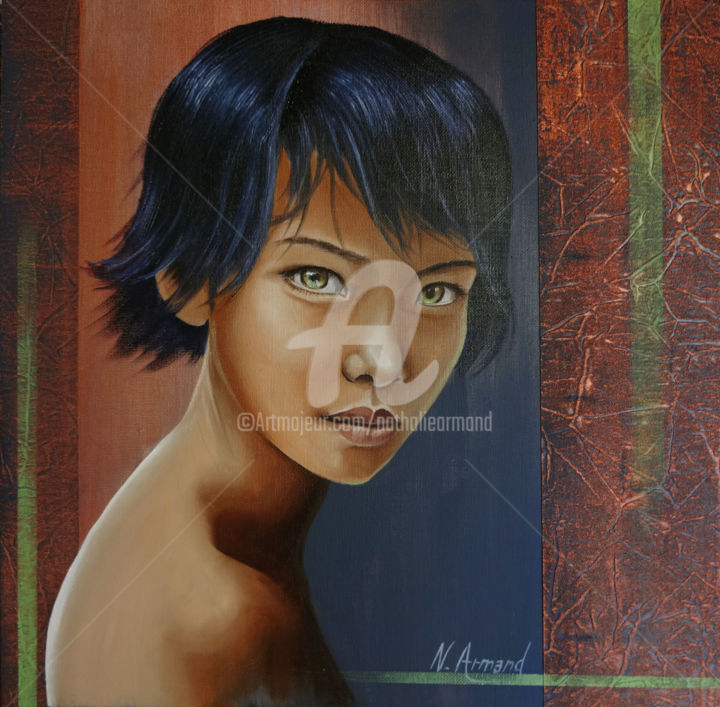 beaute-cuivrée - Painting,  40x40 cm ©2014 by Nathalie Armand -            femme, woman, enfant, children, androgyne, androgynous, adolescent, teenager, asiatique, asian