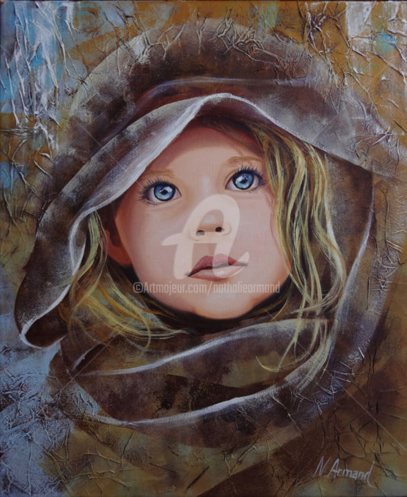 fillette.jpg - Painting,  46x38 cm ©2014 by Nathalie ARMAND -                            Children, portrait enfant fillette regard blonde