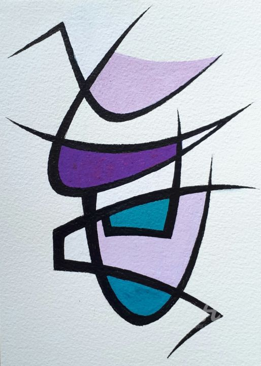 avril  2020 - Dessin,  8,3x5,8 in, ©2020 par Nathalie Lebeau -                                                                                                                                                                          Abstract, abstract-570, Graffiti
