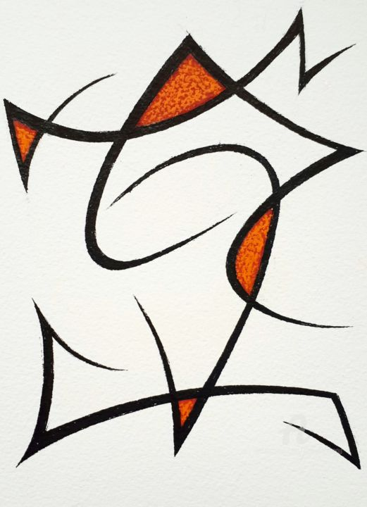 juin 2020 - Drawing,  8.3x5.8 in, ©2020 by Nathalie Lebeau -                                                                                                                                                                          Abstract, abstract-570, Graffiti