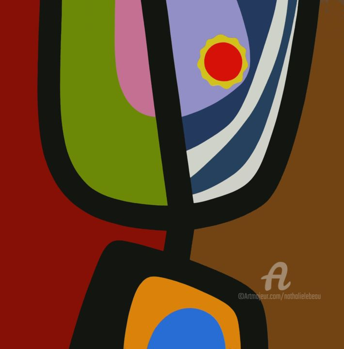 ça balance - Painting,  39.4x39.4 in, ©2013 by NATHALIE LEBEAU -                                                                                                                          Abstract, abstract-570