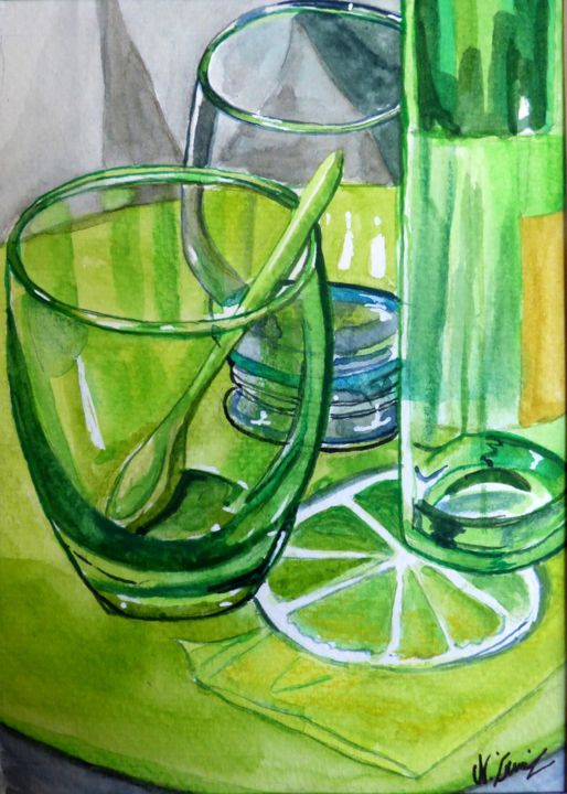 """Painting titled """"Transparences 6"""" by Nathalie Lemire, Original Art, Watercolor"""