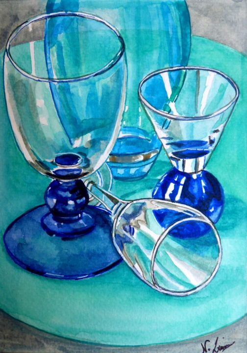 """Painting titled """"Transparences 5"""" by Nathalie Lemire, Original Art, Watercolor"""