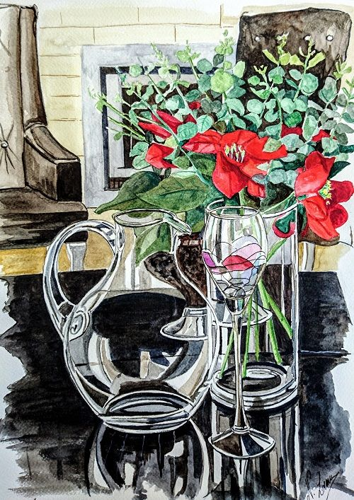 """Painting titled """"Transparences 17"""" by Nathalie Lemire, Original Art, Watercolor"""