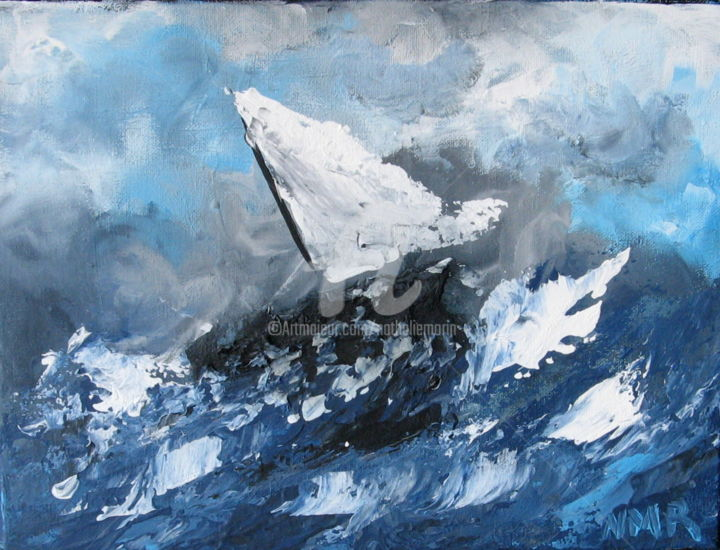 UN AIR DE TOURMENTE - Painting,  12x9x1 in ©2018 by Nathalie Morin Rousseau -                                                            Abstract Art, Canvas, Boat, SEA, BLEU, BOAT, ABSTRACT