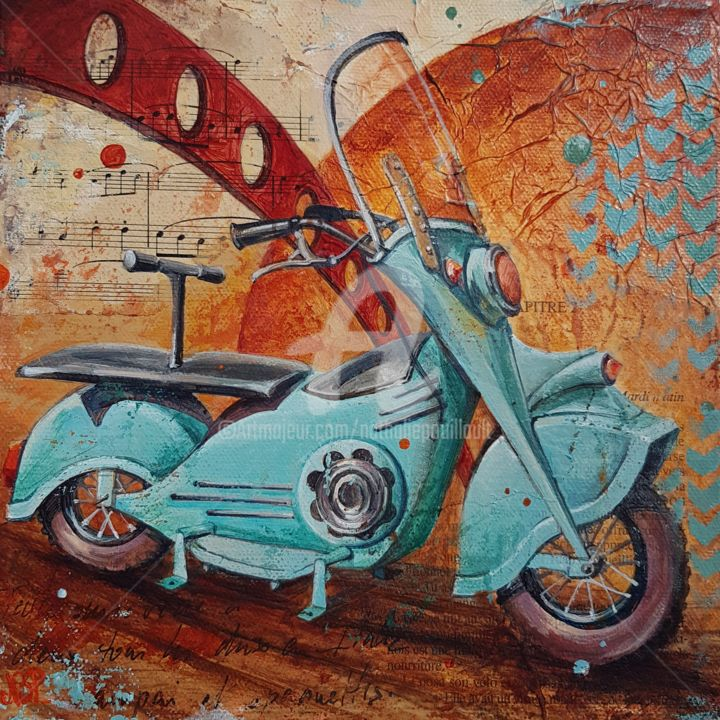 Scooter Ô ma vie - Painting,  7.9x7.9x1.6 in, ©2019 by Nathalie Pouillault Boyaval -                                                                                                                                                                                                                                                                                                                                                                                                                                                                                                                                                  Figurative, figurative-594, Paper, Canvas, Kids, Motorcycle, scooter, vintage, retro, manège, enfance
