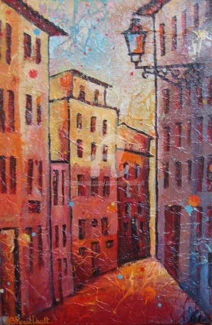 Vieux nice - Painting,  41x27 cm ©2007 by Nathalie Pouillault Boyaval -            Nice Paysage rouge