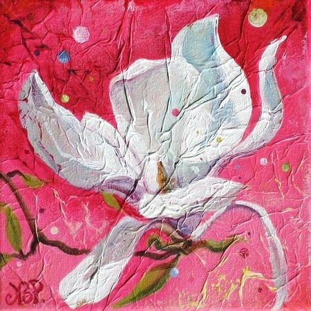 Magnolia Rose - Painting,  7.9x7.9 in, ©2008 by Nathalie Pouillault Boyaval -                                                              Magnolia fleur rose