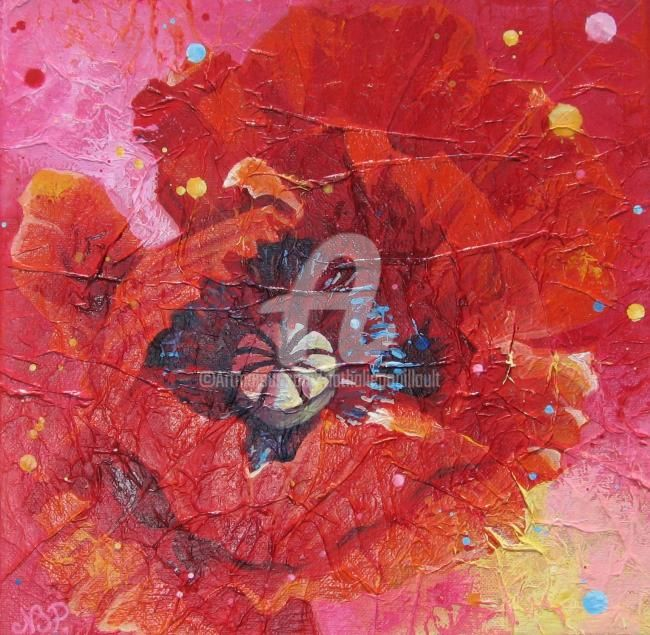 coquelicot - Painting,  30x30 cm ©2008 by Nathalie Pouillault Boyaval -