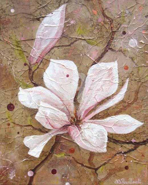 Magnolia VII - Painting,  16.1x13 in ©2009 by Nathalie Pouillault Boyaval -