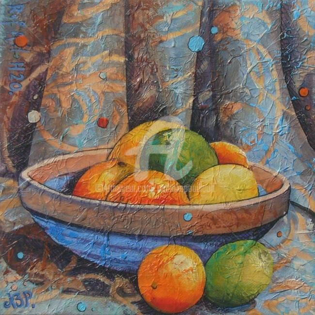 Agrumes - Painting,  20x20 cm ©2010 by Nathalie Pouillault Boyaval -            coupe de fruit, nature morte, agrumes, citrons, orange.