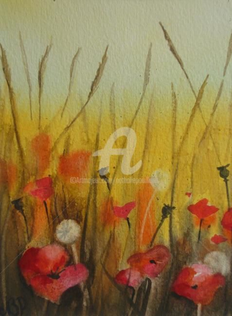 coquelicot II - Painting,  6.3x4.7x0.4 in, ©2011 by Nathalie Pouillault Boyaval -                                                              Aquarelle