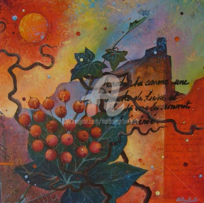 Accroche toi - Painting,  23.6x23.6 in, ©2011 by Nathalie Pouillault Boyaval -                                                                                                                                                                                                  chateau, lierre, rouge, texte.