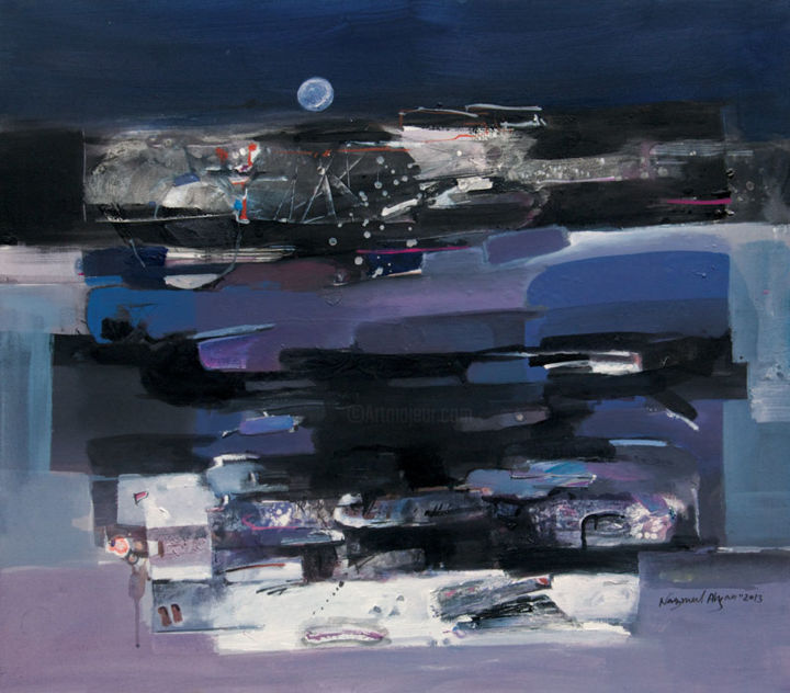 """Painting titled """"Moonlit"""" by Nazmul Ahsan, Original Art,"""