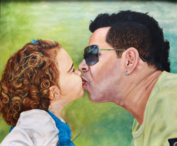 """Painting titled """"O BEIJO"""" by Nuno Duque, Original Art, Oil"""