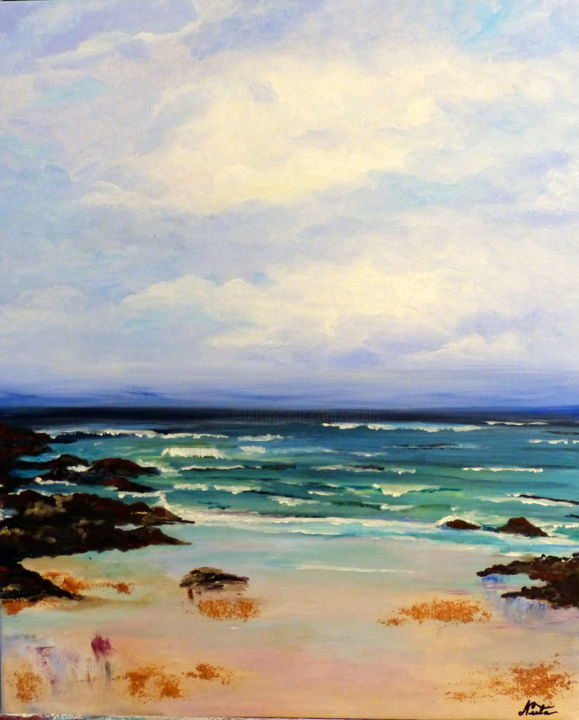 Paysage marin 2 - Painting,  24x19.7 in, ©2016 by Neela -                                                                                                                                                                                                                                                                                                                                                                                                                                                      Figurative, figurative-594, Seascape, paysage, marin, ciel, mer, bleu, acrylique