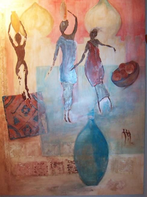 AFRIQUE 1 - Painting,  47.2x31.5 in, ©2007 by Martine Dupieux -