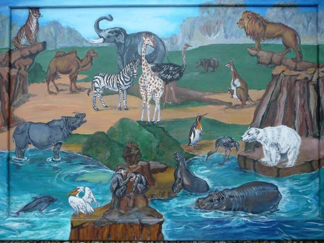 au zoo... - Painting,  47.2x63x0.4 in, ©2006 by Martine Dupieux -