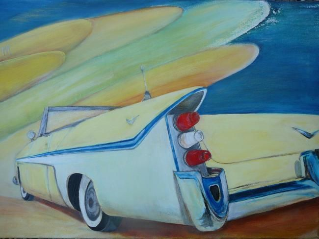 Chevrolet  in Death valley - Painting,  19.7x27.6x0.4 in, ©2008 by Martine Dupieux -