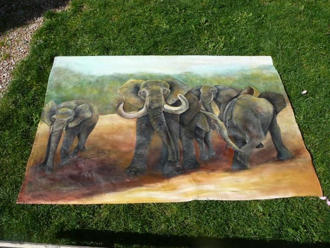 éléphants... - Painting,  55.1x70.9 in, ©2008 by Martine Dupieux -