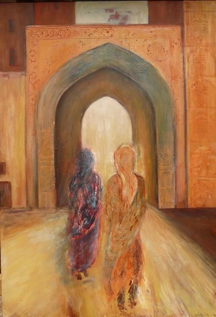 entrée en Inde... - Painting,  39.4x31.5x0.4 in, ©2009 by Martine Dupieux -