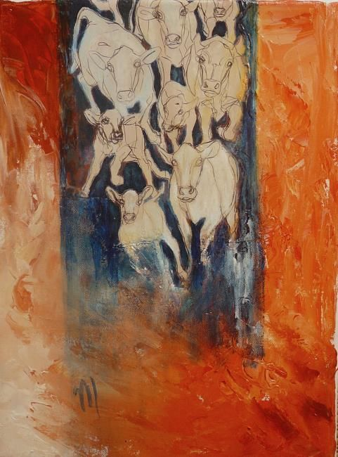 les vaches - Painting,  15.8x11.8x0.4 in, ©2009 by Martine Dupieux -