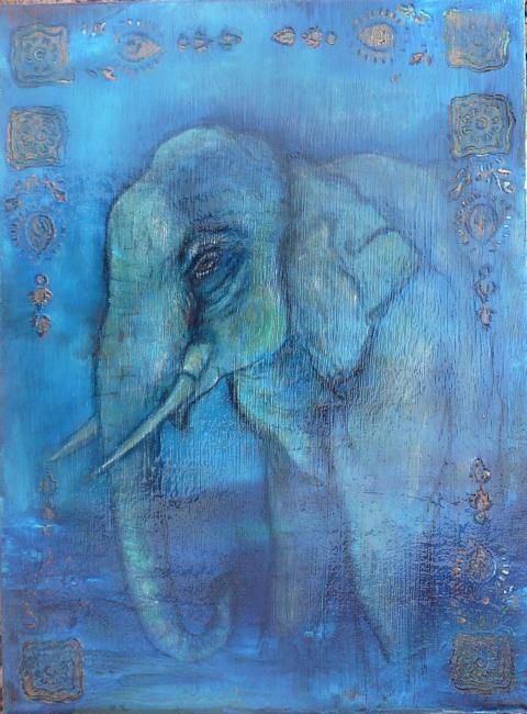 blue elephant - Painting,  15.8x11.8x0.4 in, ©2009 by Martine Dupieux -