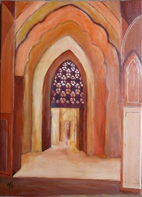 le palais des vents - Painting,  27.6x19.7x0.4 in, ©2010 by Martine Dupieux -