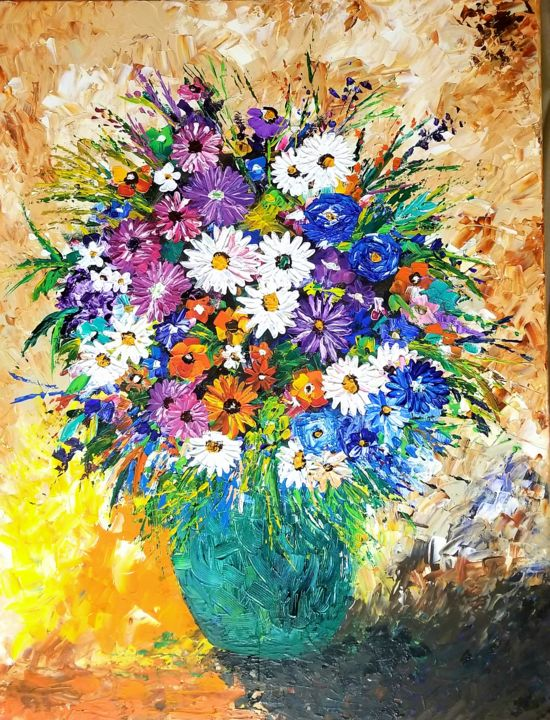 """Painting titled """"Bouquet knife paint…"""" by Neha Dubey, Original Art, Acrylic Mounted on Stretcher frame"""