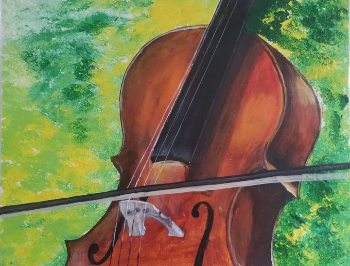 """Painting titled """"The Cello"""" by Neha Dubey, Original Art, Acrylic"""